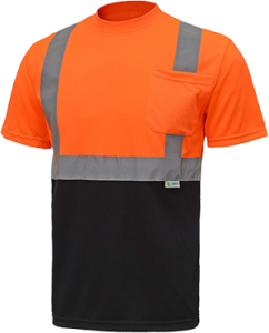 CJ Safety CJHVTS2003 ANSI Class 2 High Vis Short Sleeve Black Bottom Safety Shirt Moisture Wicking Mesh (Extra Large, Orange)