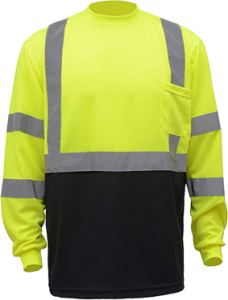 "CJ Safety CJHVTS3003L High Visibility Black Bottom Long Sleeve Safety Shirt 2"" Reflective tapes(Medium)"